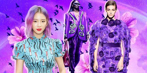 Purple, Violet, Fashion, Fashion model, Fashion design, Long hair, Performance, Style, Black hair, Collage,