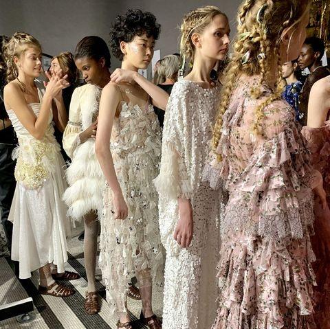 People, Dress, Fashion, One-piece garment, Gown, Embellishment, Day dress, Haute couture, Fashion model, Fashion design,