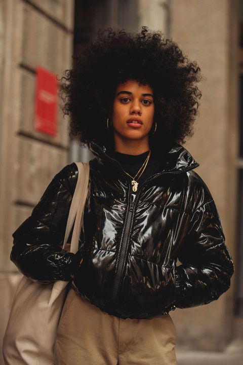 Hair, Black, Hairstyle, Jacket, Fashion, Black hair, Outerwear, Lip, Afro, Leather,