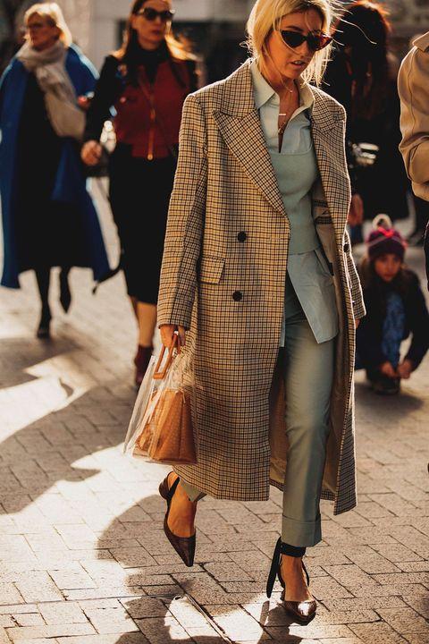 Clothing, Street fashion, Fashion, Coat, Snapshot, Outerwear, Overcoat, Human, Footwear, Sunglasses,