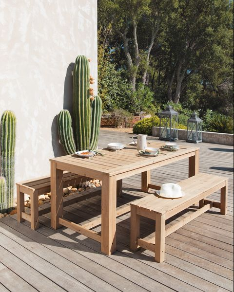 Wooden garden table + 2 benches