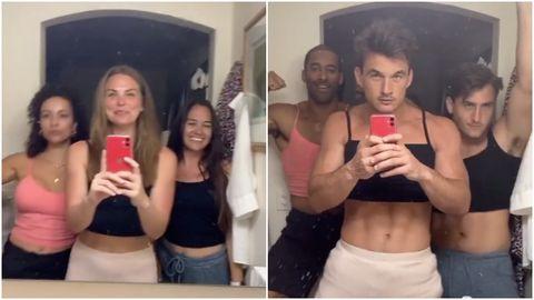 Selfie, Photography, Abdomen, Muscle, Arm, Physical fitness, Trunk, Photobombing, Photo caption, Waist,