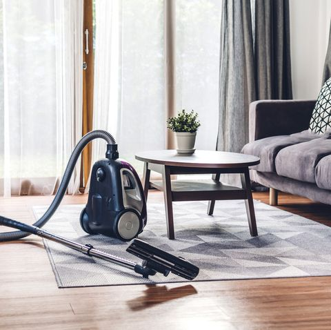 high angle view of vacuum cleaner at home