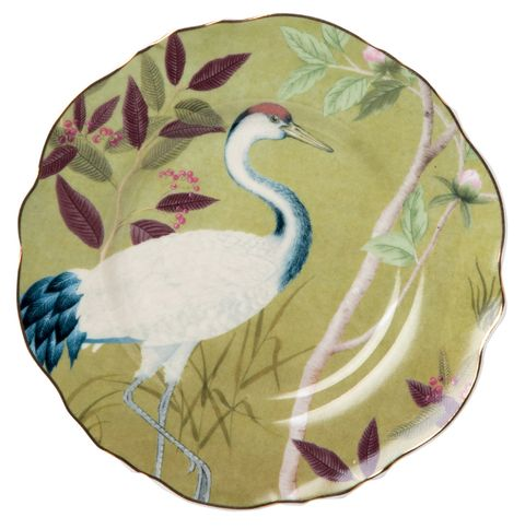 vajilla de primavera con pájaros