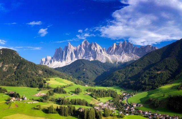 val di funes, san giovanni church panorama   villnöss, southtirol
