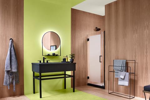 Room, Interior design, Furniture, Property, Yellow, Floor, Wall, Building, Tile, Bathroom,