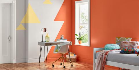 Room, Furniture, Orange, Interior design, Floor, Yellow, Wall, Property, Living room, Curtain,
