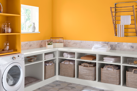 Shelf, Laundry room, Room, Furniture, Property, Shelving, Yellow, Cabinetry, Interior design, Countertop,