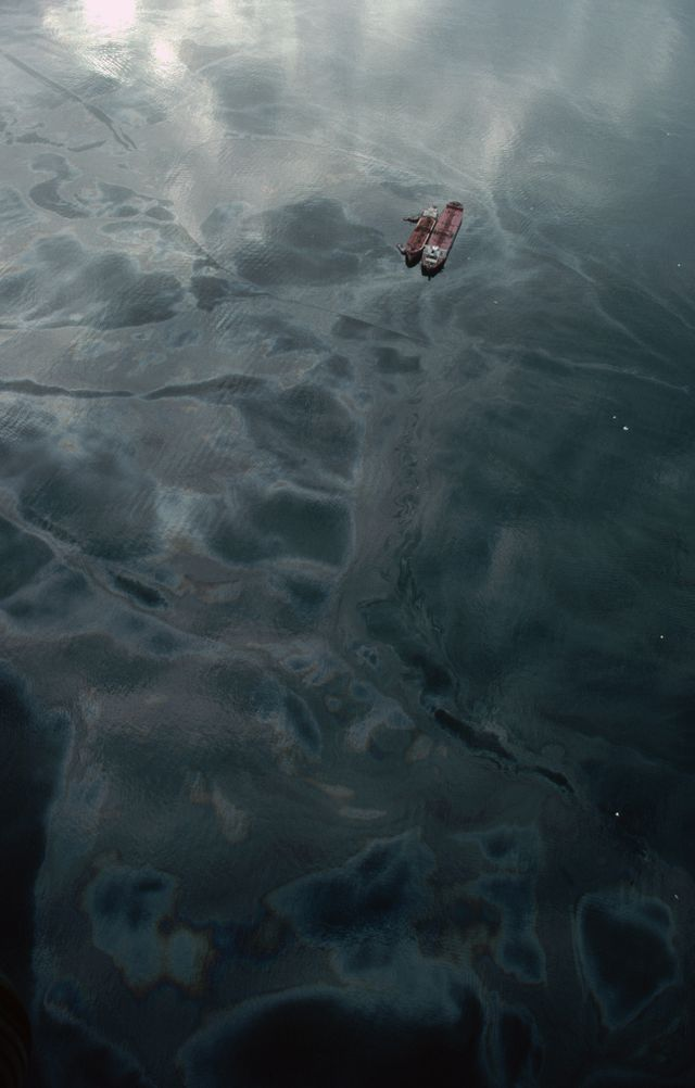 an aerial view of a tanker in prince william sound following the oil spill in 1989