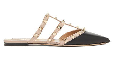 黑色 rockstud 穆勒鞋