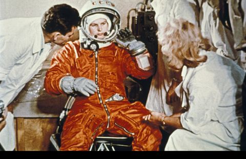 valentina tereshkova, the first woman in space, during preparations for her flight, 1963
