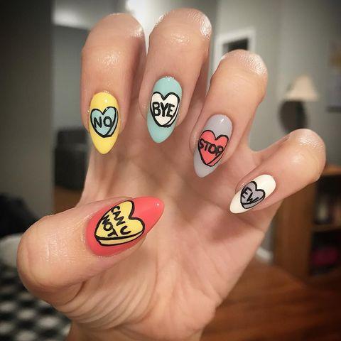 valentine nail designs conversation hearts