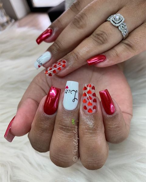 valentine nail designs red