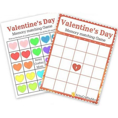 memory valentine's day game for kids