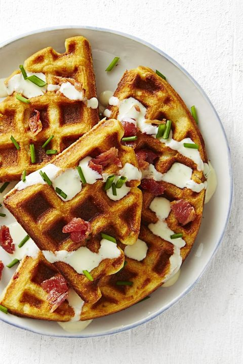 valentines day breakfast ideas - bacon chive waffles