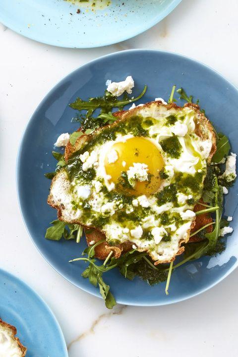 valentines day breakfast ideas - basil arugula crispy egg toast