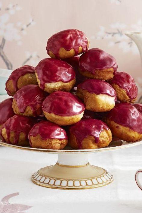 valentines day breakfast ideas - rooibos blueberry glazed donut holes