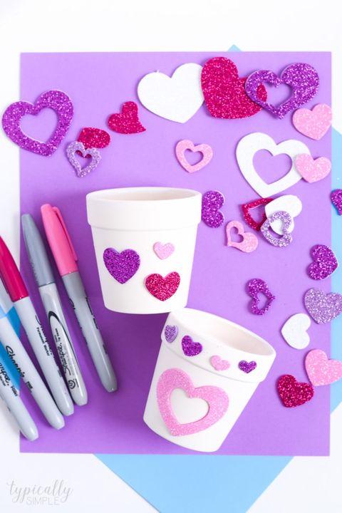 valentine's day crafts for kids flower pots