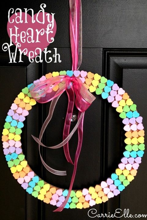 valentines day crafts for kids candy heart wreath