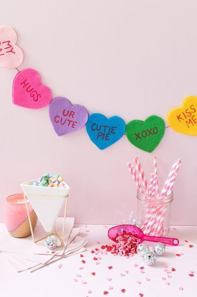 valentines day decor - felt conversation heart banner
