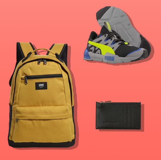 gaiter, backpack, leather zippered wallet, puma sneakers, iphone projector