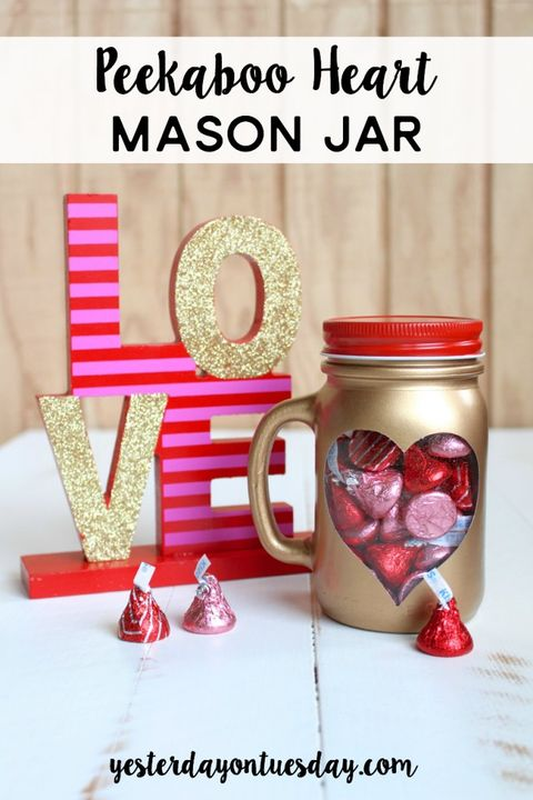 valentines day mason jar ideas gold heart