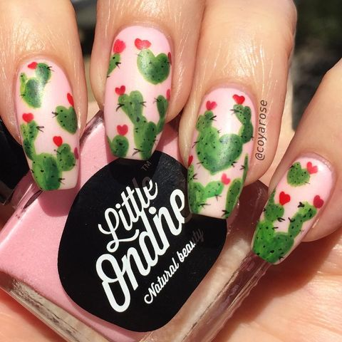 valentines day nail designs cacti