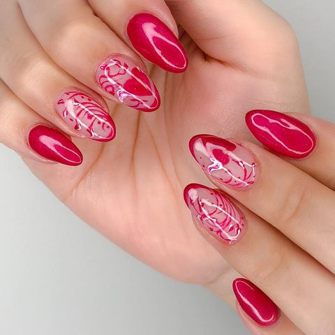 valentines day nail designs glossy