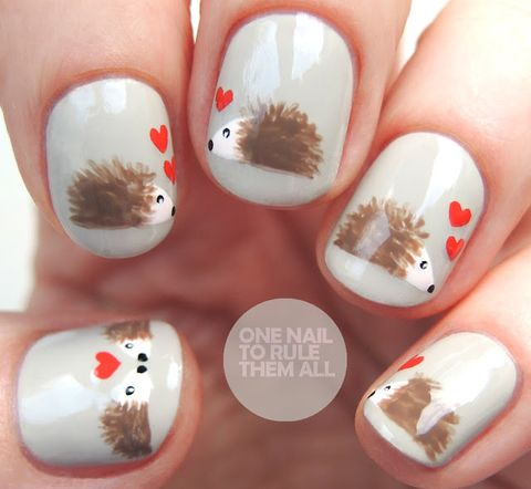 valentines day nail designs hedgehogs