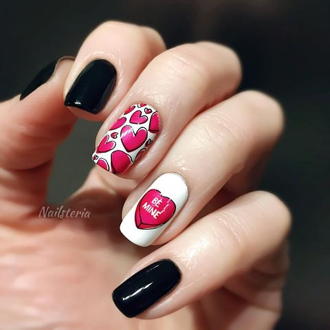 valentines day nails heart