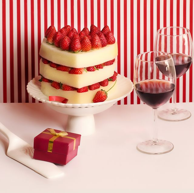 heart shaped strawberry cake on table