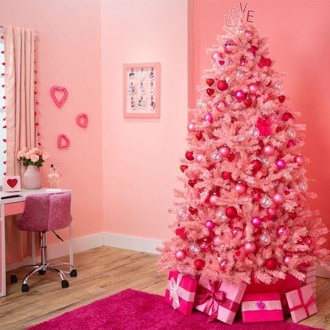 Christmas tree, Christmas decoration, Pink, Decoration, Room, Tree, Product, Interior design, Christmas ornament, Wall,