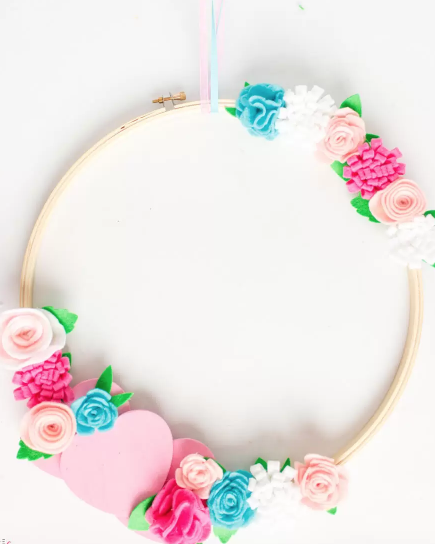valentines day wreath embroidery hoop
