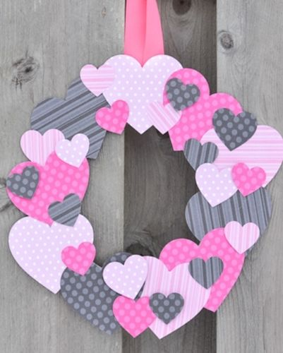 valentines day wreaths - scrapbook paper wreath