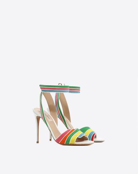 Footwear, Sandal, Slingback, High heels, Shoe, Turquoise, Basic pump, Strap, Beige, Court shoe,