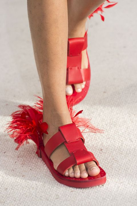 Footwear, Red, Leg, Human leg, Sandal, Ankle, Shoe, Foot, High heels, Toe,