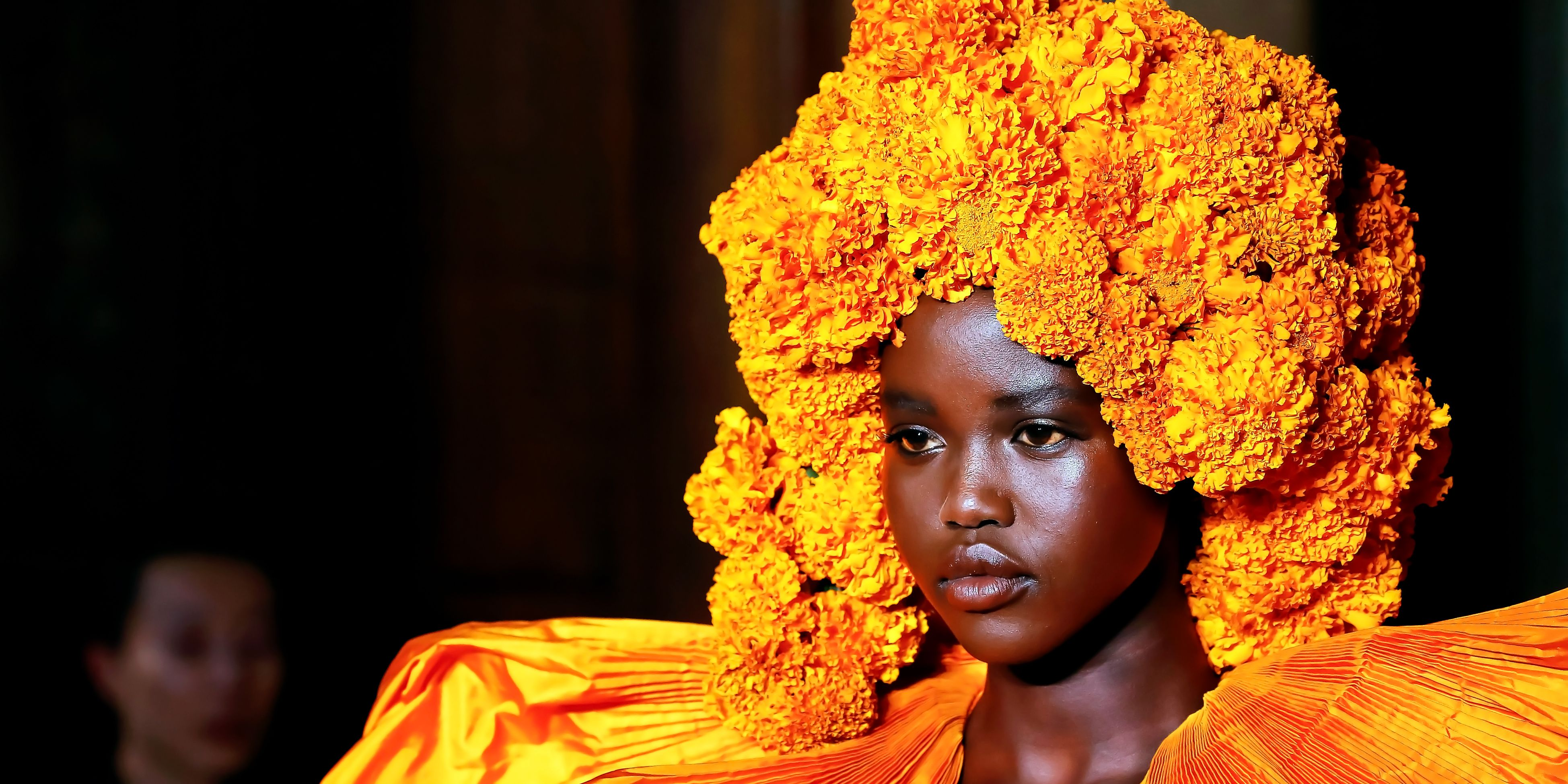 Valentino Models Wore Giant Flower Headpieces And Big Hair At 2018