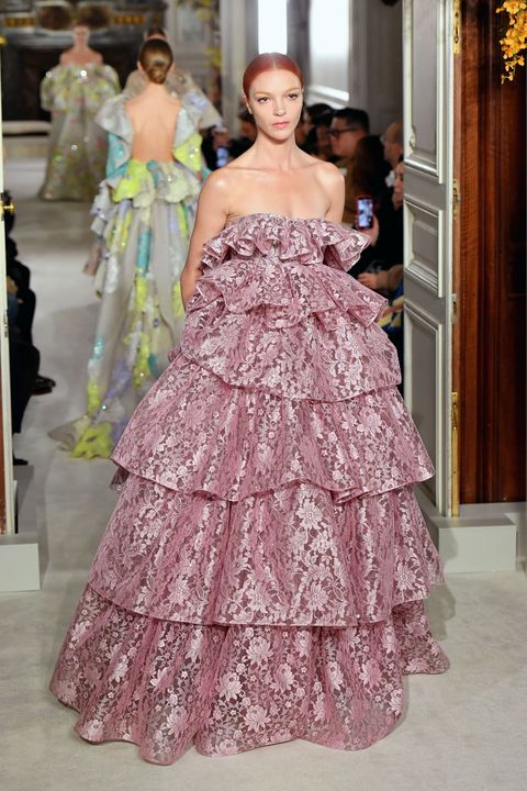 Fashion model, Haute couture, Dress, Fashion, Gown, Clothing, Shoulder, Strapless dress, Pink, Bridal party dress,