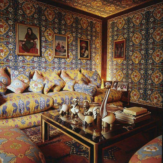 summer living at valentinos on the appian way includes a small sitting room designed by stephano mantovani, covered with turquoise and yellow valentino designed fabric marrakesh carpet ostrich egg on table photo byhorst p horstcondé nast via getty images