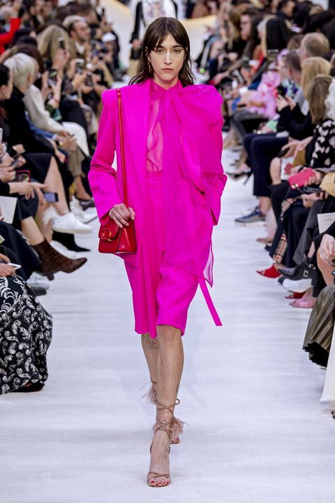 Fashion model, Fashion, Fashion show, Runway, Clothing, Pink, Shoulder, Haute couture, Event, Spring,