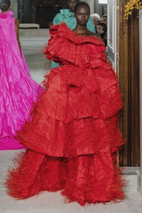 Clothing, Pink, Dress, Red, Gown, Fashion, Haute couture, Shoulder, Magenta, Fashion design,
