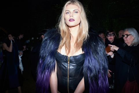 Darkness, Fashion, Costume, Fur, Fur clothing, Long hair, Leather, Blond, Step cutting, Midnight,