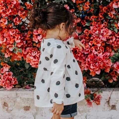 Clothing, Red, Pattern, Child, Outerwear, Shoulder, Pattern, Orange, Dress, Design,