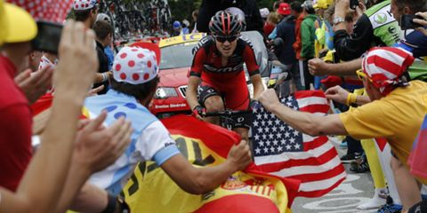 Tejay van Garderen leads the breakaway up Alpe d'Huez on Stage 18 of the 2013 Tour de France.