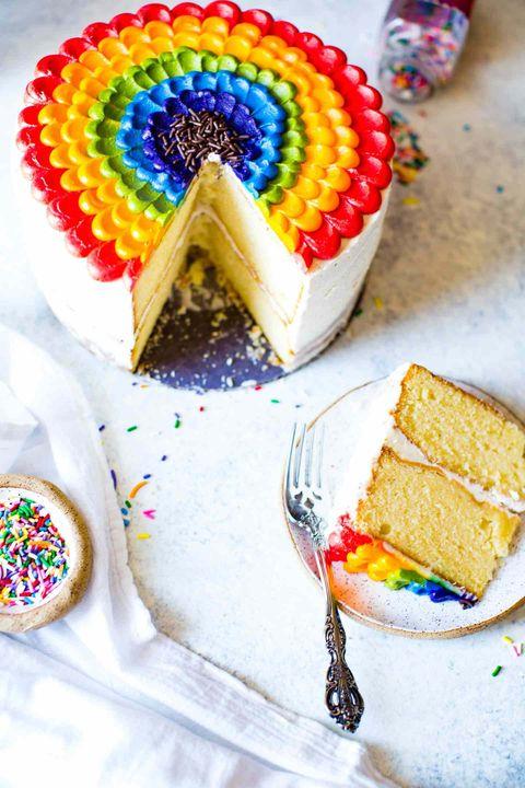 vanilla almond rainbow petal cake
