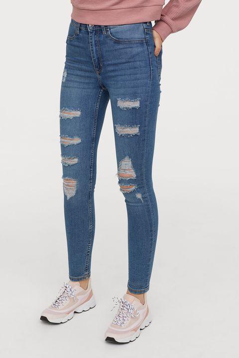 Denim, Jeans, Clothing, Blue, Pocket, Waist, Textile, Standing, Footwear, Knee,