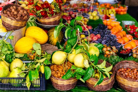 Variation of fresh fruits and vegetables on market stall at Campo di Fiori market in Rome, Italy