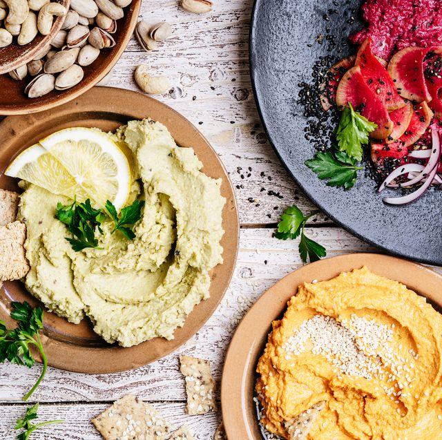 variety of healthy snacks, gourmet dips