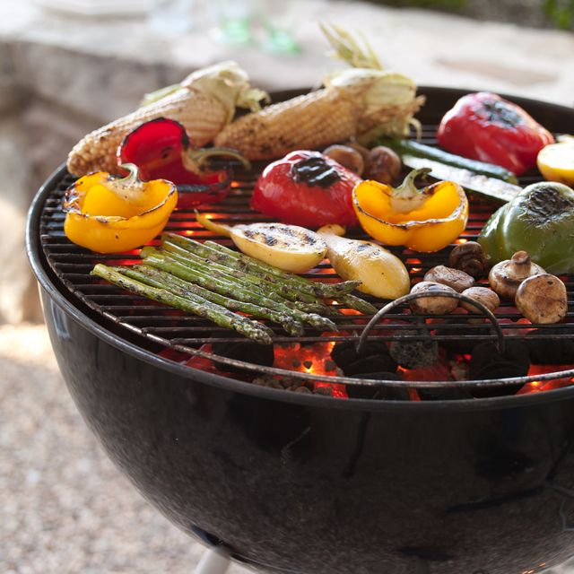 various grilled vegetables on a barbecue