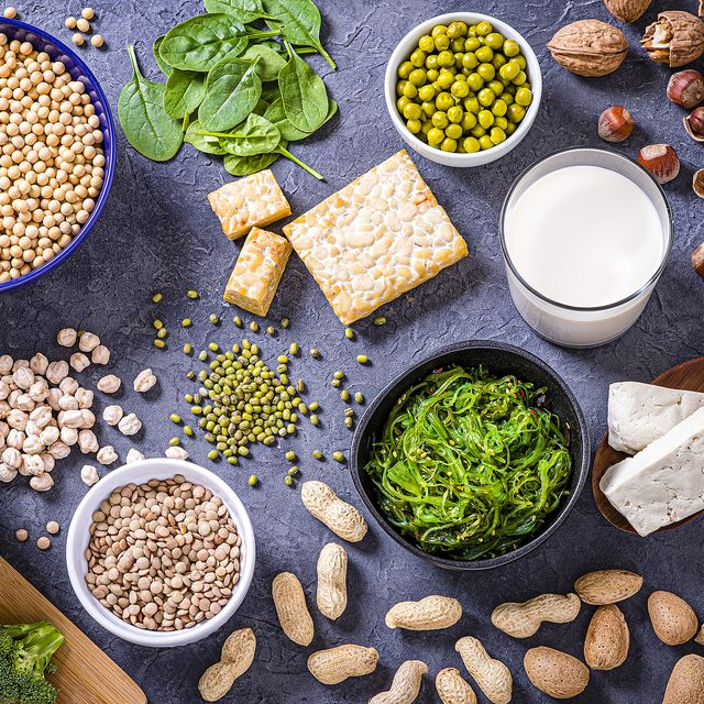 various kinds of vegan protein sources